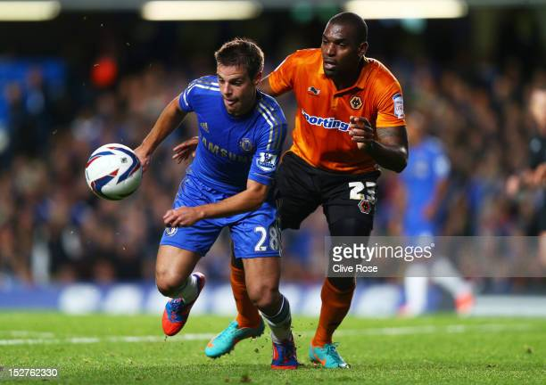 Chelsea's Cesar Azpilicueta and Wolverhampton Wanderers' Ronald Zubar compete for the ball during the Capital One Cup third round match between...