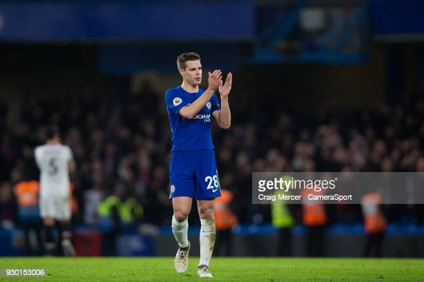 Chelsea's Cesar Azpilicueta applauds the fans at the final whistle during the Premier League match between Chelsea and Crystal Palace at Stamford...