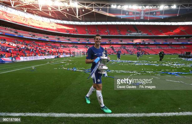 Chelsea's Cesar Azpilicueta celebrates with the FA Cup after the game during the Emirates FA Cup Final at Wembley Stadium, London.