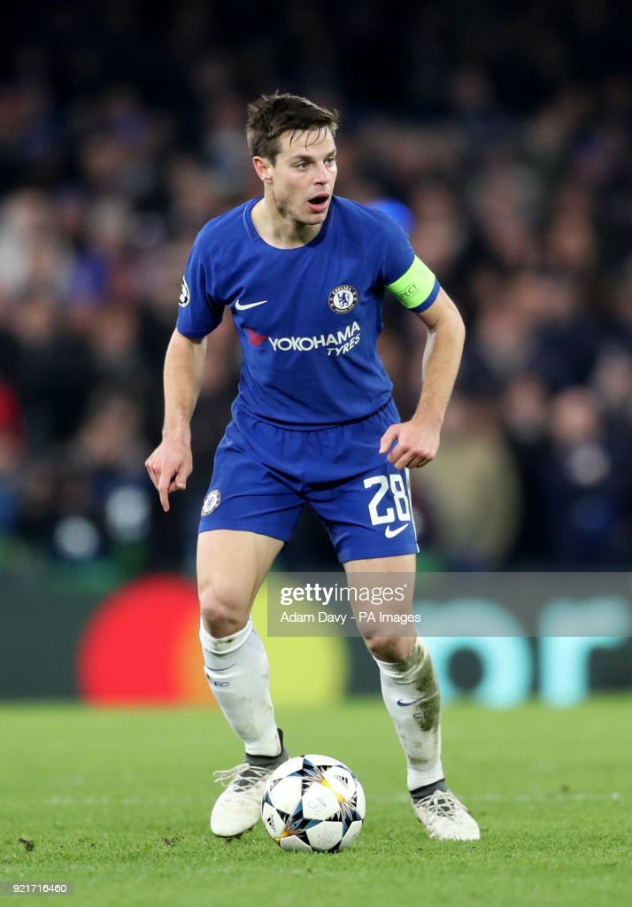 Chelsea's Cesar Azpilicueta during the UEFA Champions League round of sixteen, first leg match at Stamford Bridge, London. PRESS ASSOCIATION Photo. Picture date: Tuesday February 20, 2018. See PA story SOCCER Chelsea. Photo credit should read: Adam Davy/PA Wire