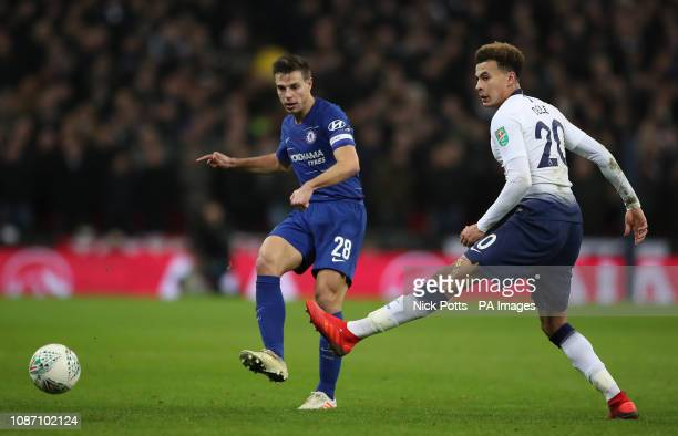 Chelsea's Cesar Azpilicueta makes his pass past Tottenham Hotspur's Dele Alli during the Carabao Cup semi final match at Wembley London