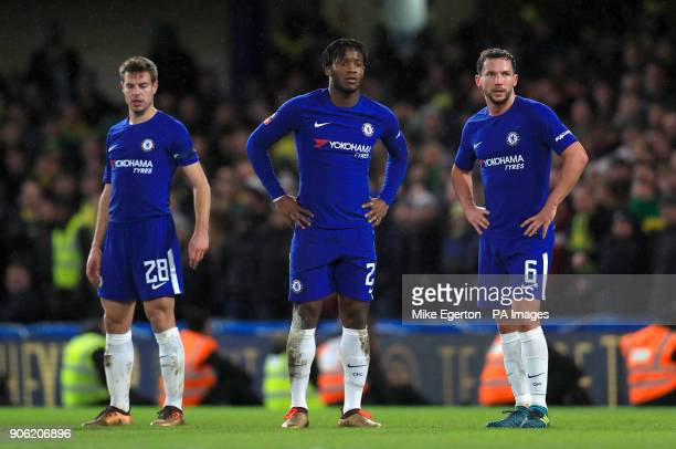 Chelsea's Cesar Azpilicueta Michy Batshuayi and Danny Drinkwater show their dejection as their side concede during the Emirates FA Cup Third Round...