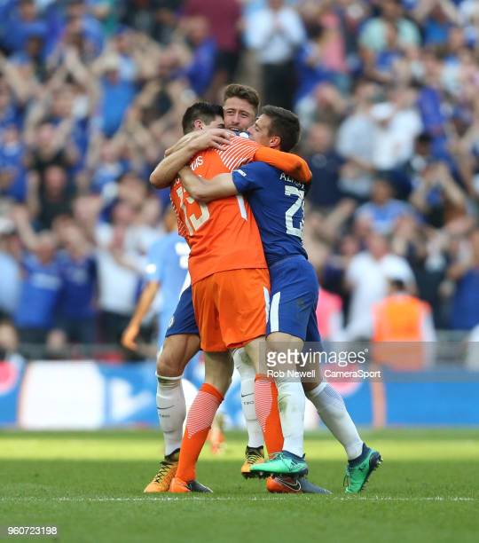 Chelsea's Cesar Azpilicueta Thibaut Courtois and Gary Cahill celebrate at the final whistle during the Emirates FA Cup Final match between Chelsea...