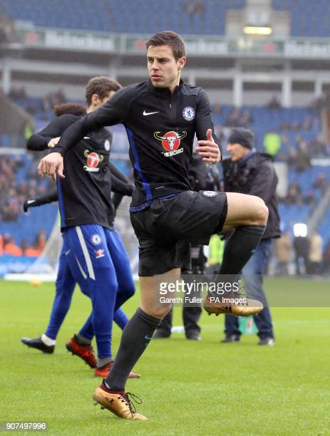 Chelsea's Cesar Azpilicueta warms up before the Premier League match at the AMEX Stadium Brighton