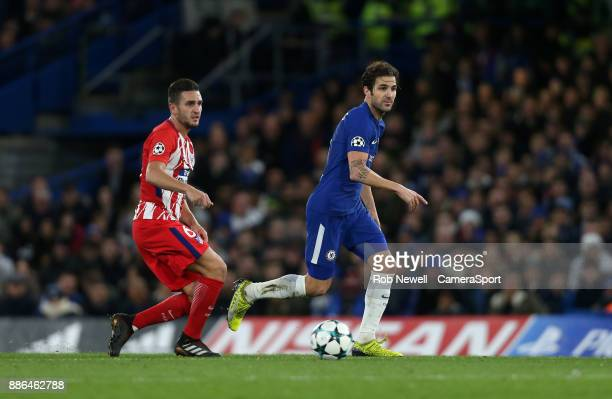 Chelsea's Cesc Fabregas and Atletico Madrid's Koke during the UEFA Champions League group C match between Chelsea FC and Atletico Madrid at Stamford...
