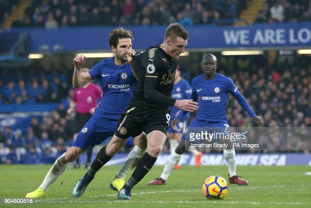 Chelsea's Cesc Fabregas and Leicester City's Jamie Vardy battle for the ball during the Premier League match at Stamford Bridge London
