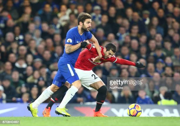 LR Chelsea's Cesc Fabregas and Manchester United's Henrikh Mkhitaryan during the Premier League match between Chelsea and Manchester United at...
