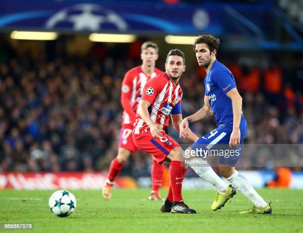 Chelsea's Cesc Fabregas during the Champions League Group C match between Chelsea and Atlético Madrid at Stamford Bridge London England on 5 Dec 2017