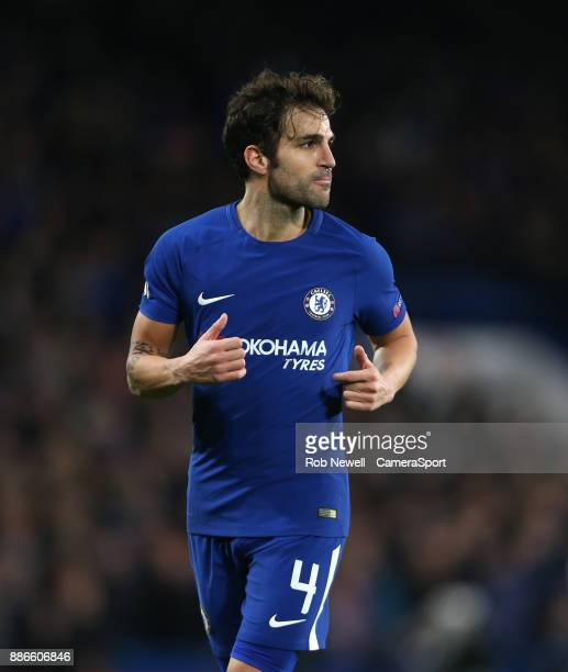Chelsea's Cesc Fabregas during the UEFA Champions League group C match between Chelsea FC and Atletico Madrid at Stamford Bridge on December 5 2017...
