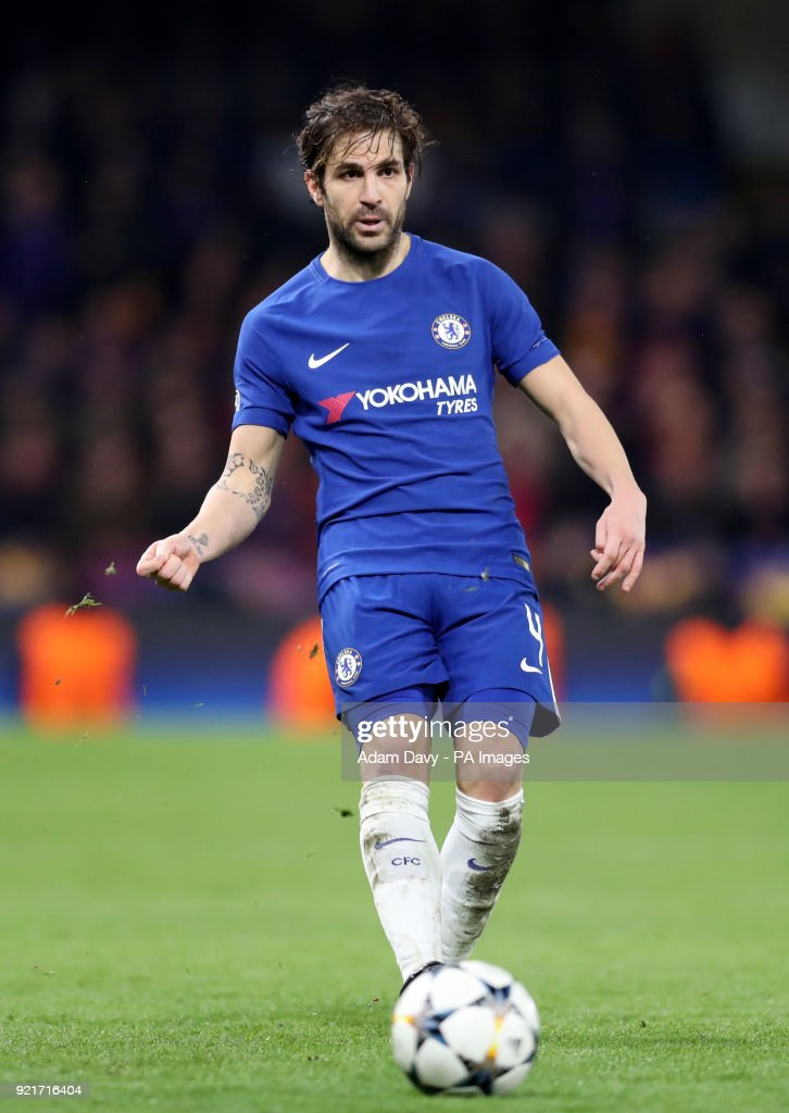 Chelsea's Cesc Fabregas during the UEFA Champions League round of sixteen, first leg match at Stamford Bridge, London. PRESS ASSOCIATION Photo. Picture date: Tuesday February 20, 2018. See PA story SOCCER Chelsea. Photo credit should read: Adam Davy/PA Wire