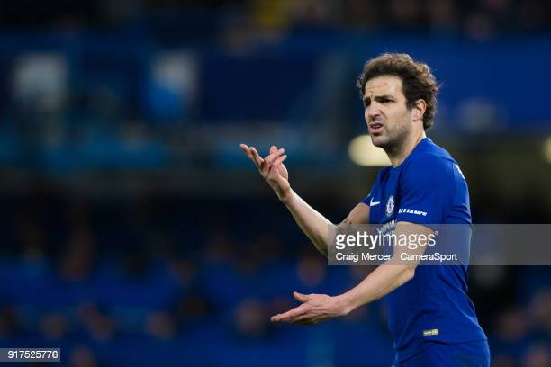 Chelsea's Cesc Fabregas reacts during the Premier League match between Chelsea and West Bromwich Albion at Stamford Bridge on February 12 2018 in...