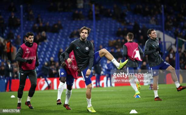 Chelsea's Cesc Fabregas warming up before the UEFA Champions League match at Stamford Bridge London