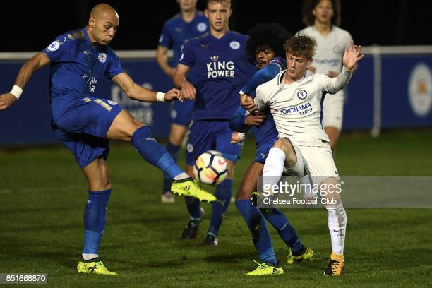 Chelsea's Charlie Brown and Leicesters Hamza Choudhury during the Premier League 2 match between Leicester City and Chelsea on September 22 2017 in...