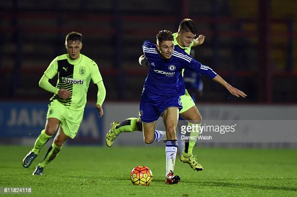 Chelsea's Charlie Wakefield and Huddersfield Town's Harry Clibbens during a 3rd Rd FA Youth Cup match between Chelsea U18 and Huddersfield Town U18...