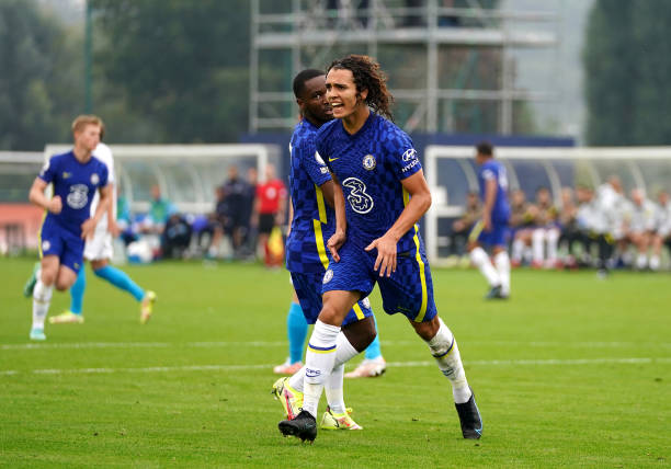 Chelsea's Charlie Webster celebrates scoring their side's first goal of the game during the UEFA Youth League, group H match at Cobham Training...