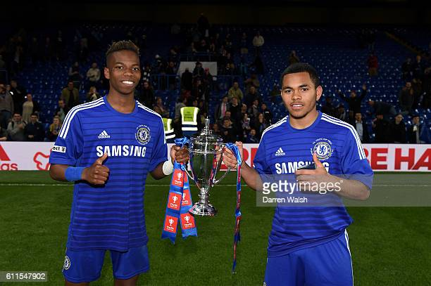 Chelsea's Charly Musonda and Jay Dasilva celebrate with the trophy after winning the FA Youth Cup Final