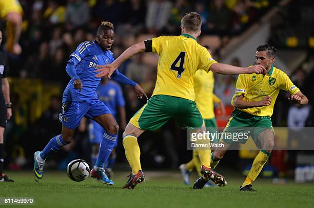 Chelsea's Charly Musonda and Norwich's Henry Randall during a English FA Youth Cup Final 1st leg match between Norwich City U18 and Chelsea U18 at...