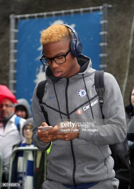Chelsea's Charly Musonda arrives for the Premier League match at the AMEX Stadium Brighton
