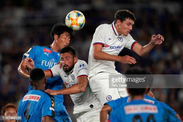 Chelsea's Christensen , Olivier Giroud and Kawasaki Frontale's Kazuya Yamamura in action during the preseason friendly match between Kawasaki...