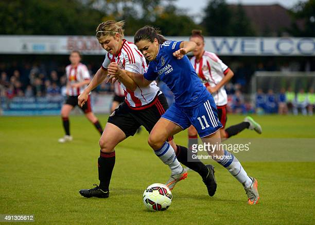 Chelsea's Claire Rafferty and Sunderland's Abby Holmes during the FA WSL match between Chelsea Ladies FC and Sunderland AFC Ladies on October 4 2015...