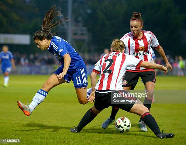 Chelsea's Claire Rafferty is dipossesed by Sunderland's Abby Holmes during the FA WSL match between Chelsea Ladies FC and Sunderland AFC Ladies on...