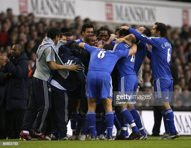 Chelsea's Claude Makelele celebrates scoring the opening goal with his team mates