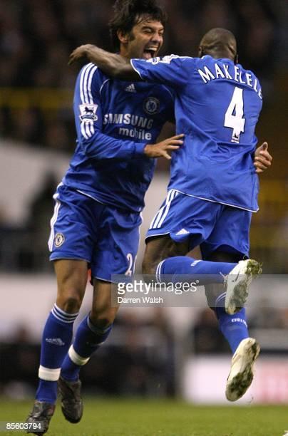 Chelsea's Claude Makelele celebrates scoring the opening goal with Paulo Ferreira