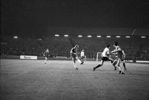 Chelsea's Clive Walker shoots for goal during the Football League Division Two match between Chelsea and Derby County at Stamford Bridge, London, on...
