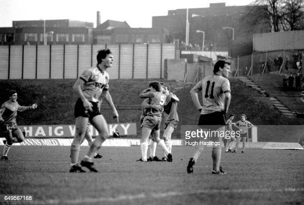 Chelsea's Colin Pates celebrates scoring during the Football League Division Two match between Wolverhampton Wanderers and Chelsea at Molyneux on...