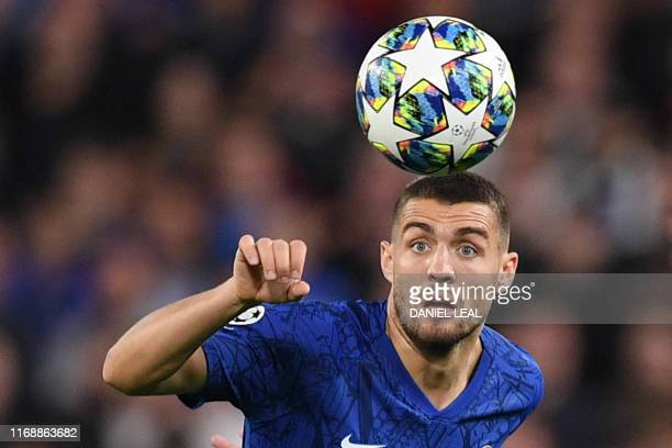Chelsea's Croatian midfielder Mateo Kovacic controls the ball during the UEFA Champion's League Group H football match between Chelsea and Valencia...