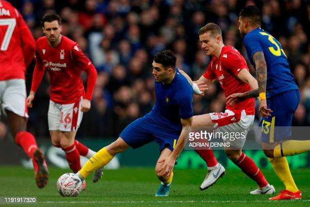 Chelsea's Croatian midfielder Mateo Kovacic controls the ball during the English FA Cup third round football match between Chelsea and Nottingham...