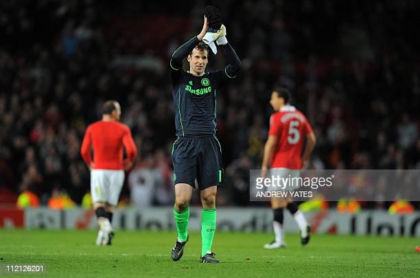 Chelsea's Czech goalkeeper Petr Cech applauds the supporters after the UEFA Champions League quarter final second leg football match between...