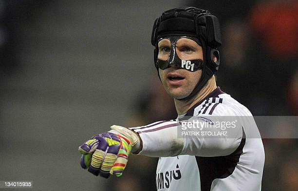 Chelsea's Czech goalkeeper Petr Cech reacts during the Champions League Group E football match Bayer 04 Leverkusen vs Chelsea FC in Leverkusen...