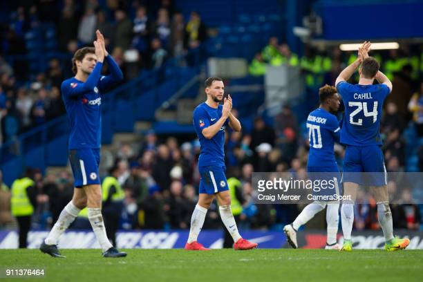 Chelsea's Daniel Drinkwater applauds the fans at the final whistle during The Emirates FA Cup Fourth Round match between Chelsea and Newcastle United...