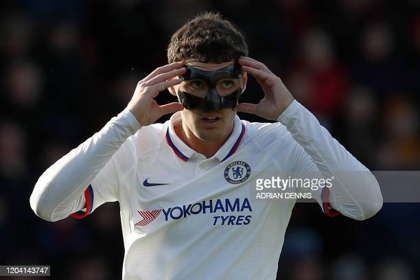 Chelsea's Danish defender Andreas Christensen adjusts his mask during the English Premier League football match between Bournemouth and Chelsea at...