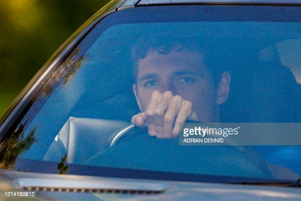 Chelsea's Danish defender Andreas Christensen arrives at Chelsea's Cobham training facility in Stoke D'Abernon southwest of London on May 20 2020 as...