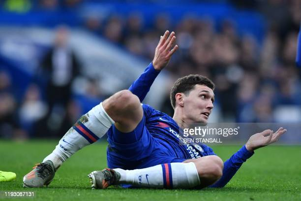 Chelsea's Danish defender Andreas Christensen comes off the back of Burnley's New Zealand striker Chris Wood during the English Premier League...