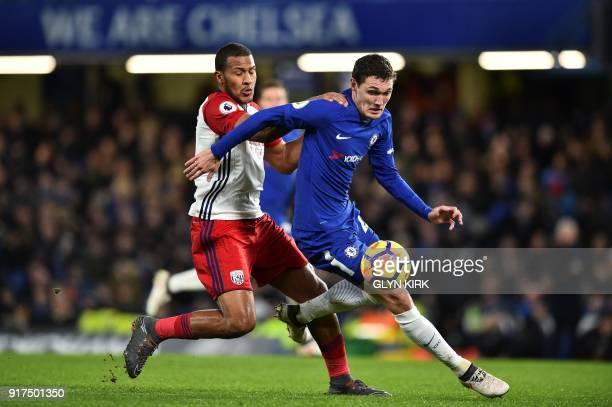 Chelsea's Danish defender Andreas Christensen is challenged by West Bromwich Albion's Venezuelan striker Salomon Rondon during the English Premier...
