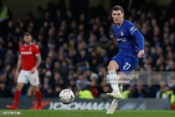 Chelsea's Danish defender Andreas Christensen plays the ball during the English FA Cup third round football match between Chelsea and Nottingham...
