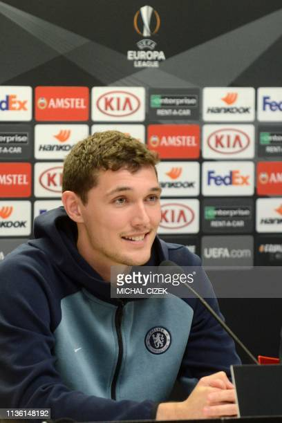 Chelsea's Danish defender Andreas Christensen speaks during a press conference on the eve of the UEFA Europa League quarterfinal first leg football...