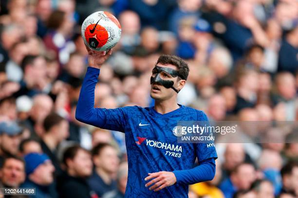 Chelsea's Danish defender Andreas Christensen tosses the ball during the English Premier League football match between Chelsea and Tottenham Hotspur...