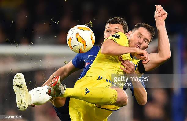 TOPSHOT Chelsea's Danish defender Andreas Christensen vies with BATE Borisov's Belarusian striker Nikolai Signevich during the UEFA Europa League...