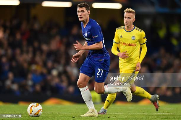 Chelsea's Danish defender Andreas Christensen vies with BATE Borisov's Finnish striker Jasse Tuominen during the UEFA Europa League Group L football...