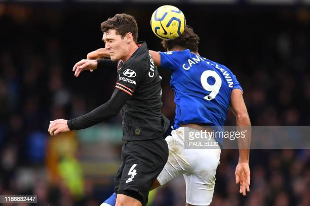 Chelsea's Danish defender Andreas Christensen vies with Everton's English striker Dominic CalvertLewin during the English Premier League football...