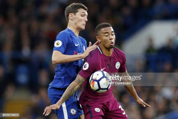 Chelsea's Danish defender Andreas Christensen vies with Manchester City's Brazilian striker Gabriel Jesus during the English Premier League football...