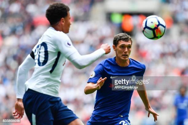 Chelsea's Danish defender Andreas Christensen vies with Tottenham Hotspur's English midfielder Dele Alli during the English Premier League football...