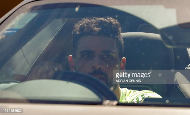Chelsea's Danish defender leaves from Chelsea's Cobham training facility in Stoke D'Abernon southwest of London on May 20 2020 as training continues...