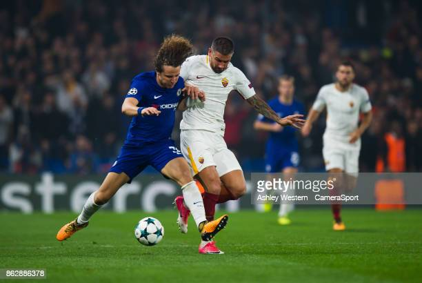 Chelsea's David Luiz battles for possession with Roma's Aleksandar Kolarov during the UEFA Champions League group C match between Chelsea FC and AS...
