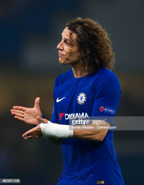 Chelsea's David Luiz during the UEFA Champions League group C match between Chelsea FC and AS Roma at Stamford Bridge on October 18 2017 in London...