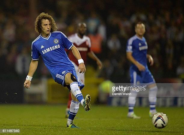 Chelsea's David Luiz passes the ball